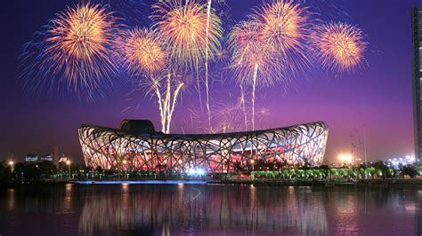wallpaper 4k new year wallpaper bird s nest beijing national stadium fireworks