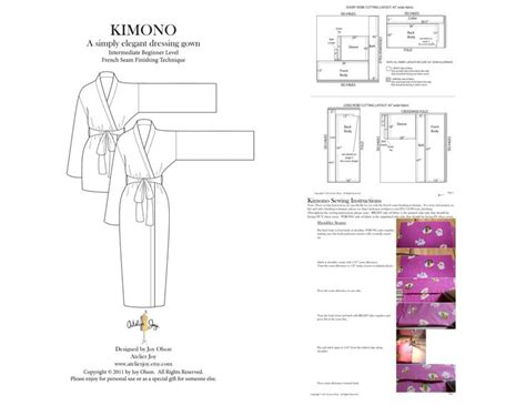 pattern for kimono dressing gown kimono robe pattern french seams finishing included