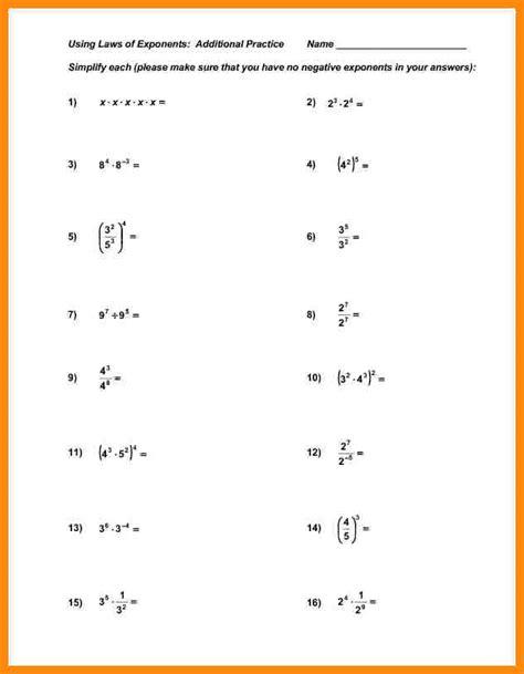 Algebra Properties Worksheet by Exponents Practice Worksheet Math Plane Simplifying