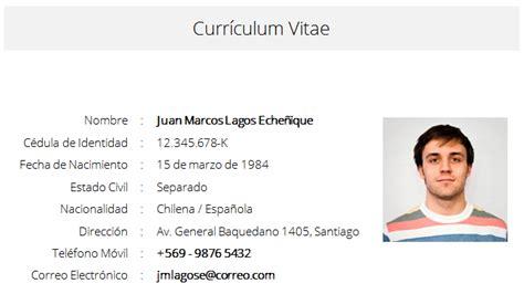 Modelo De Curriculum Chile 2015 formato de um curriculum vitae simples