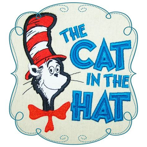 The Cat dr seuss cat in the hat applique machine embroidery design