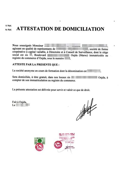 attestation domiciliation si鑒e social eregulations