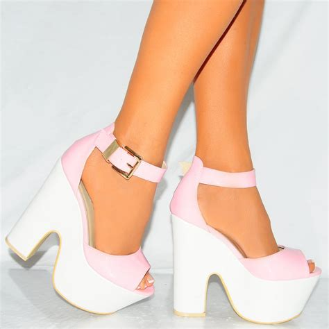high heels black and white pink and white high heels qu heel