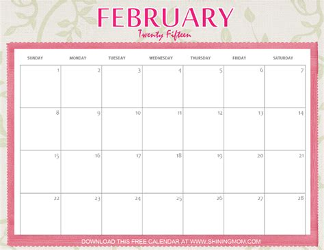 February 2015 Printable Calendar Feburary 2016 Monthly Calendar Printable Calendar