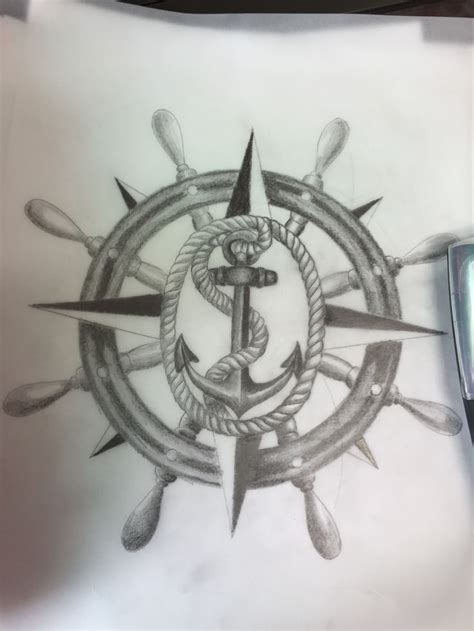anchor with a compass design art pinterest compass