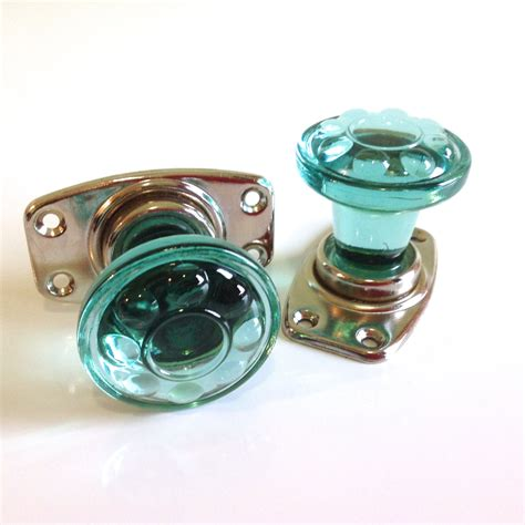 Green Glass Door Knobs by Vintage Door Knobs Door Handles Green Glass Knobs