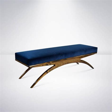 Walnut Convex Bench In Navy Blue Velvet At 1stdibs