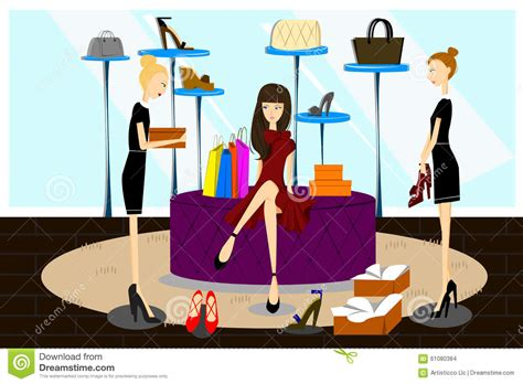 shopping for shoes shopping for shoes stock vector image of recreation