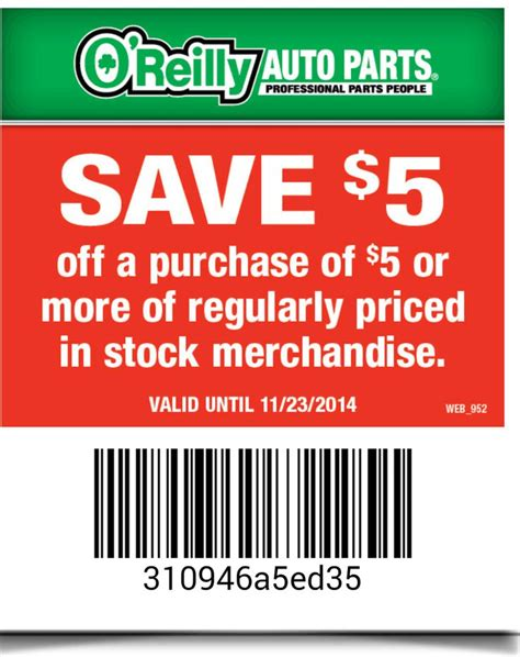 discount coupons o'reilly auto parts