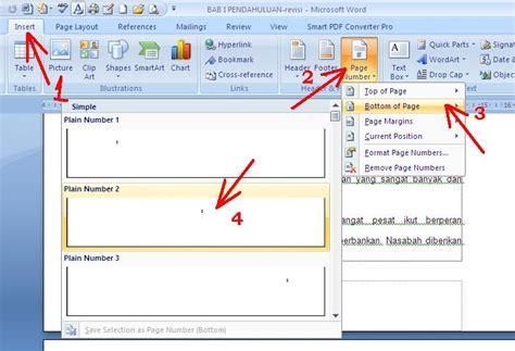 cara membuat penomoran halaman pada word 2007 cara membuat nomor halaman di microsoft word