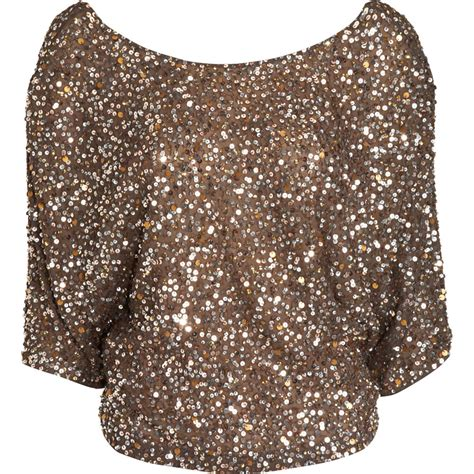 Blouse Squin Top vince sequin blouse in gold lyst