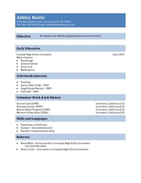 Cv Template For 16 Year Olds Best 20 High School Resume Ideas On College Teaching Career Schools And High