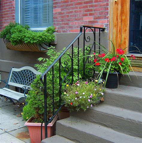 colorful step sidewalk planters