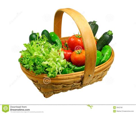 vegetarian baskets fresh vegetables basket clipping path included stock photo image 3942158