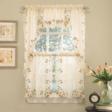 kitchen curtains swags swag kitchen curtains sunflower embroidered kitchen