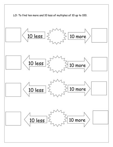10 More 10 Less Worksheets by 10 More And 10 Less Differentiated By Laurenstuart