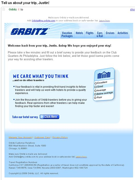 customer survey email template sending survey emails learn from orbitz exle email