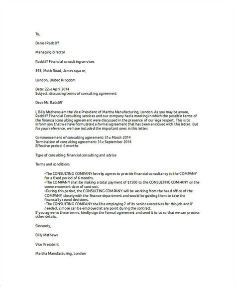 Letter Of Agreement Consultant 31 Sle Agreement Letters
