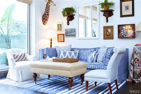 blue white living room collectible style in a one bedroom nyc apartment before