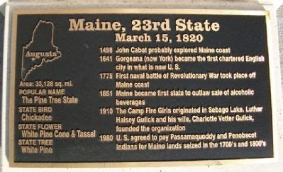 Maine The 23rd State by Corridor Of Flags Historical Marker
