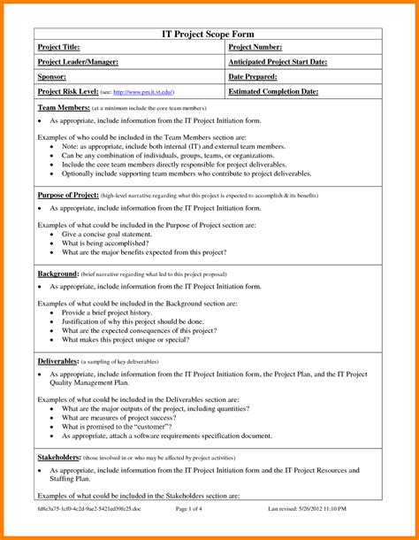 software scope document template bill of quantities template and 5 project scope template