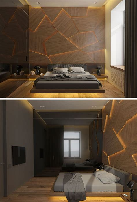 bedroom   geometric  lit wood accent wall
