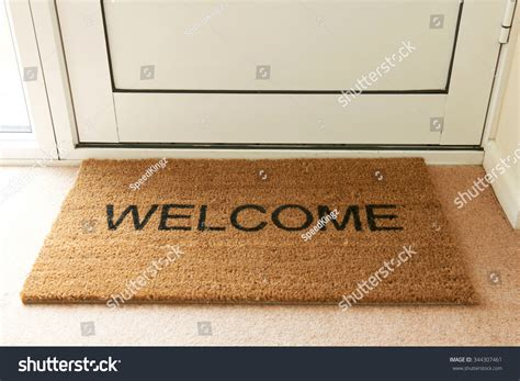Inside Welcome Mat Welcome Mat Inside Doorway Of Home Stock Photo 344307461