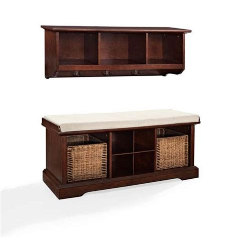 entryway storage shelf brennan mahogany two piece entryway bench and shelf set