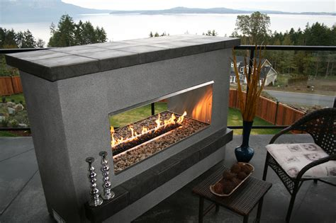 elements outdoor products see thru fireplace