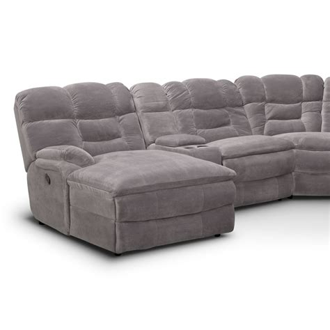Power Reclining Sectional Sofa With Chaise Big Softie 6 Power Reclining Sectional With Left Facing Chaise Gray Value City Furniture