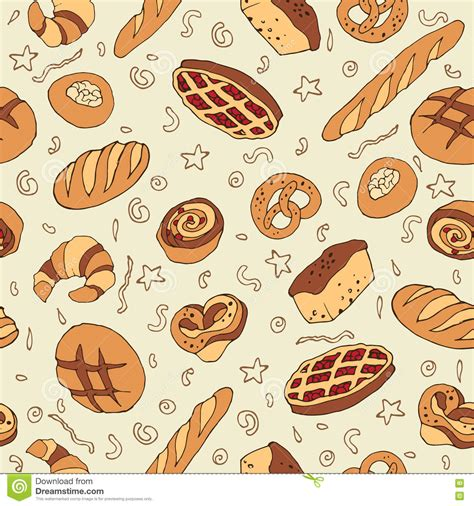 pattern goods seamless bakery background stock vector image 75354633
