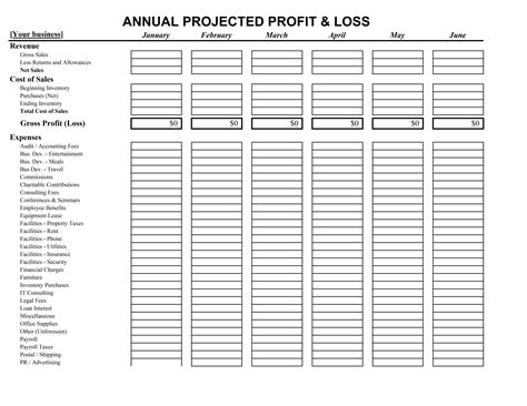 annual projection template creative annual projected profit and loss template sle