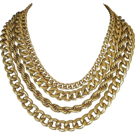 monet gold tone multi chain necklace from sarafinas on