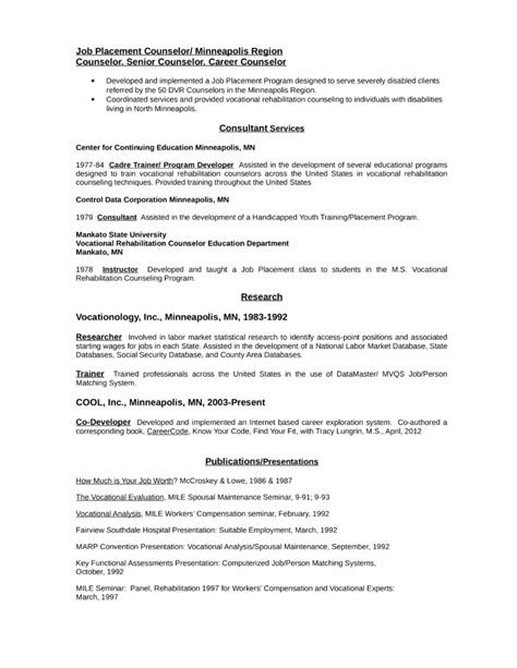 Vocational Rehabilitation Specialist Sle Resume by Professional Vocational Rehabilitation Counselor Resume Template Page 2