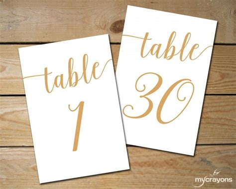 wedding table number printable 4x6 instant by instant download printable table numbers 1 30 bella