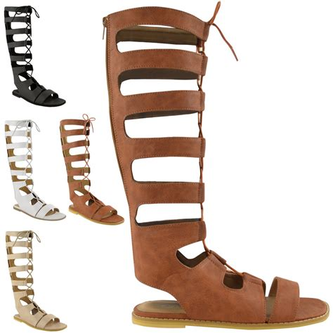 knee high lace up sandals womens knee high gladiator lace up cut out flat