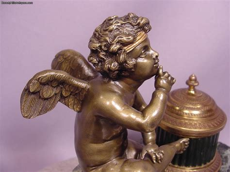 Cherub Antique by Beautiful Antique Bronze Seated Cherub Encrier For Sale