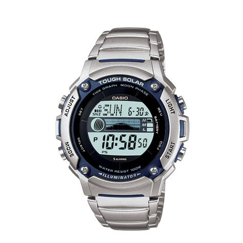 casio gents solar powered tide graph digital w