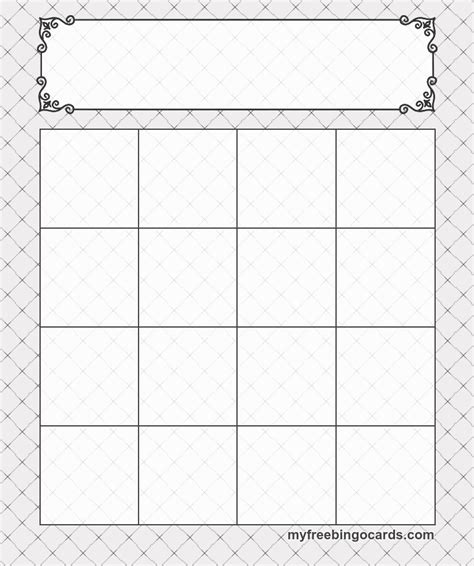 4x4 Card Template by 4x4 Bingo Template