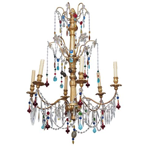 Color Chandelier Genovese Chandelier With Colored Murano Glass Circa 1920 At 1stdibs