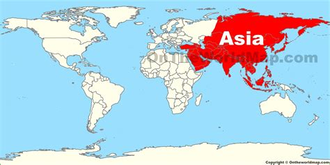 asien map asia location on the world map