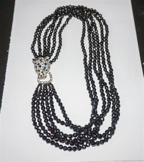 Diskon L 850 Leopard Costume vintage k j l kenneth j black faceted glass bead