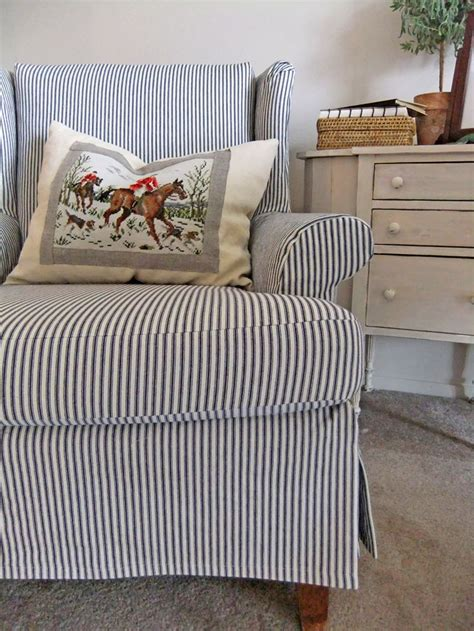 slipcover for a wingback chair simple ticking slipcover for a wingback chair love the