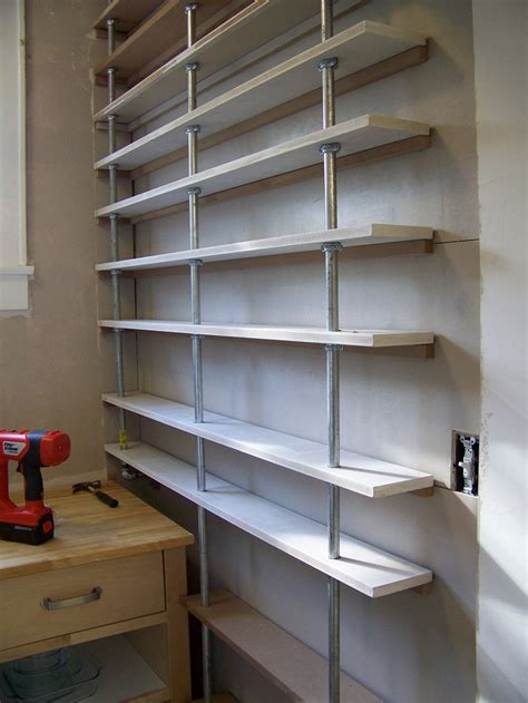 pantry shelves made from pipe good ideas pinterest
