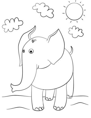 cute cartoon elephant coloring page  printable