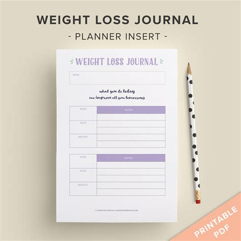 free printable weight loss journal to track diet progress