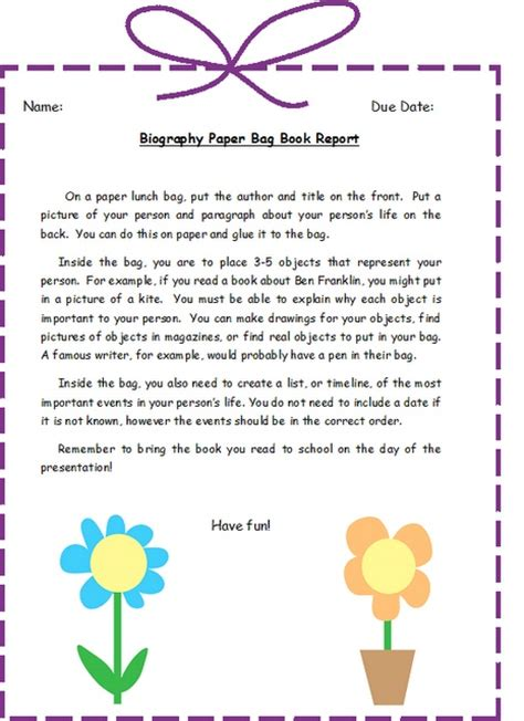 biography exles for elementary students biography bag project biography pinterest bags