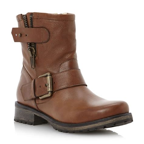 ladies ankle biker boots new dune ladies promey womens tan brown zip leather ankle