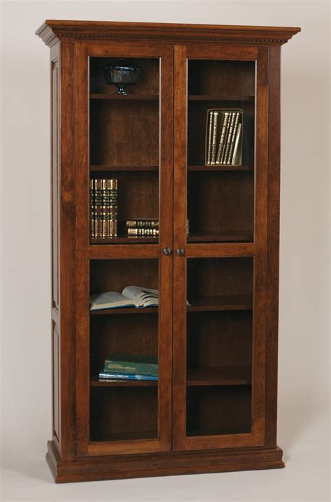 bookshelves glass doors classic bookcase length glass doors buckeye amish furniture