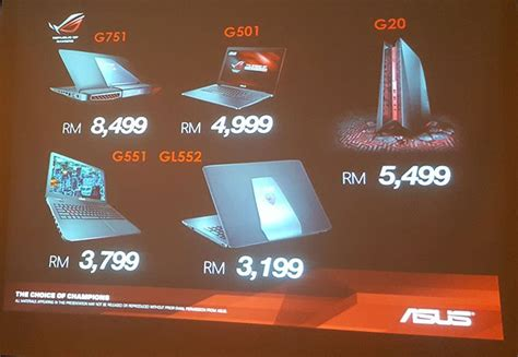 asus malaysia introduces the rog g501 g751 and gl552 gaming notebooks and g20 compact gaming pc